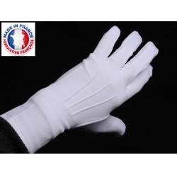Gants blancs de parade où de cérémonie en polyamide texturé, lourd