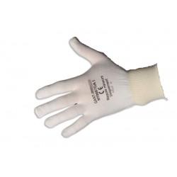 Gants blancs de manipulation en nylon - fil caoutchouc poignet