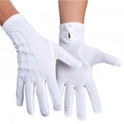 Gants blancs polyester bouton pression extensibles