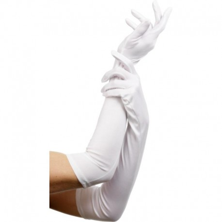 Gants blancs longs en Jersey