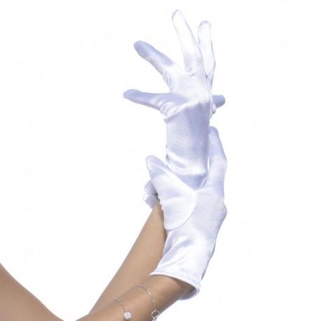 Gants blancs satiné élastique 22cm