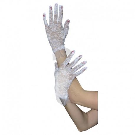 Gants blancs en dentelle 22cm