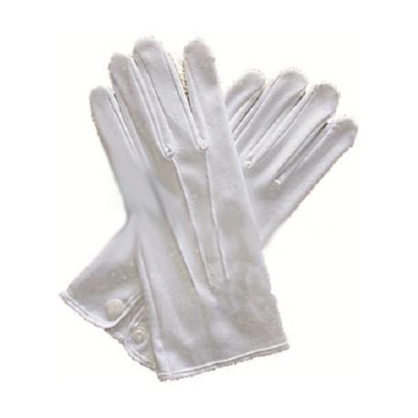 Gants blancs 3 nervures 100% coton - 21cm