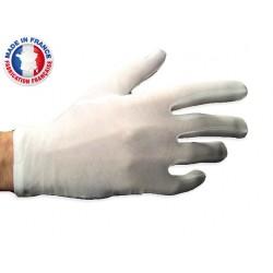 Gants blancs de manipulation en coton satin fil