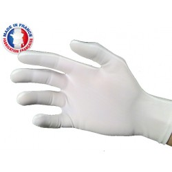 Gants blancs de manipulation en polyamide élasthanne brillant