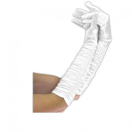 Gants blancs longs plissés Polyester