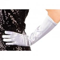 Gants blancs satine élastique 40 cm