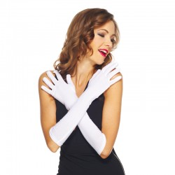 Gants blancs longs 100% Polyester